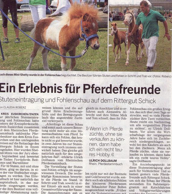 13.Juli 2011 Kölner Rundschau / Bild re.: Welsh A Eslandia`s Elisabeth mit Ramonshof Taylor