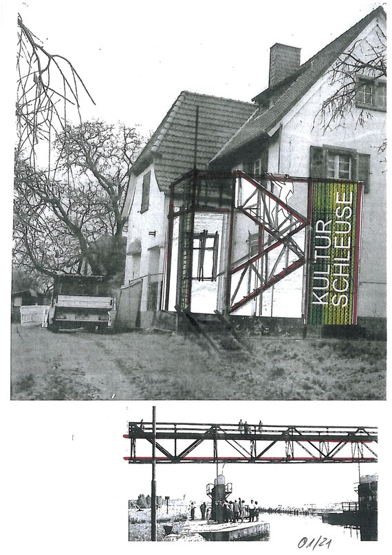 Skizze des Balkons mit Fluchttreppe und Kulturschleuse-Signet