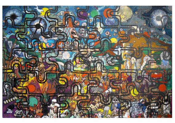 Collages & techniques mixtes sur puzzle, 155X120cm, 2011.