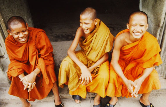 Smiley young monks Cambodia 1998