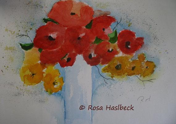 blumenstrauß, blumen, rote blumen, gelbe blumen, blumenaquarell,  kunst, bild, geschenkidee, malen, wandbild, handgemalt, Rosa Haslbeck