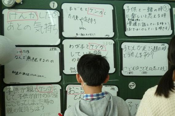 本音トーク大会の質問事項をホワイトボードにまとめる子どもたち