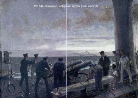 Gemälde eines Torpedobootsangriffs - Bild: Alex Kircher