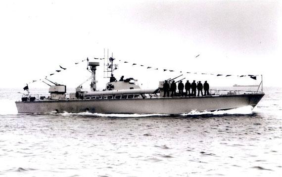 """TS-Boot vom Typ """"P 6"""" bei der Flottenparade - Bild: Archiv Mehl"""