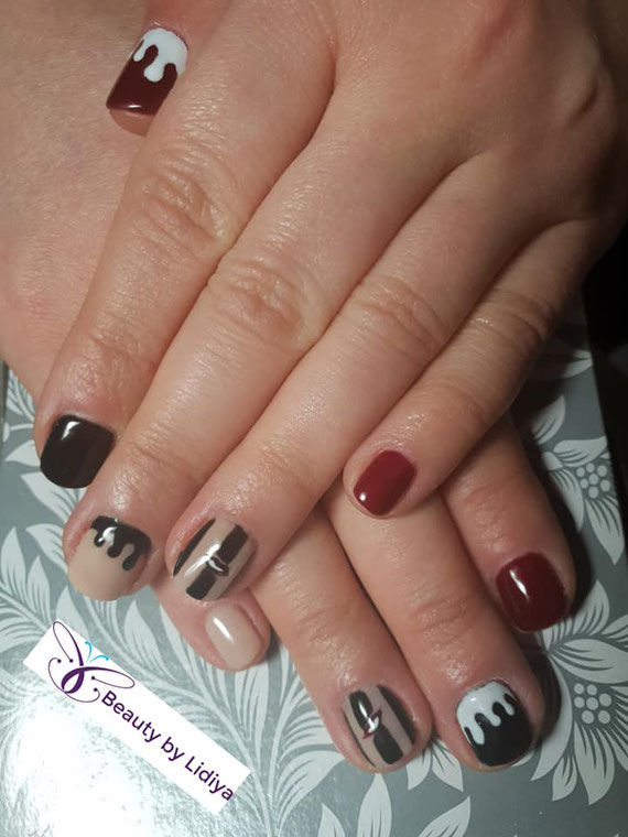 nail art hand made stamping cnd shellac glitter pearls  ice cream melts red black and white nude