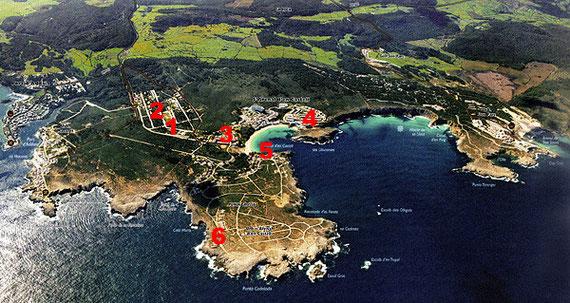 1: Diving Center, 2: Marina Parc, 3: Aguamarina, 4: Isla Paraiso, 5: Arco Iris, 6: Rocas Marinas