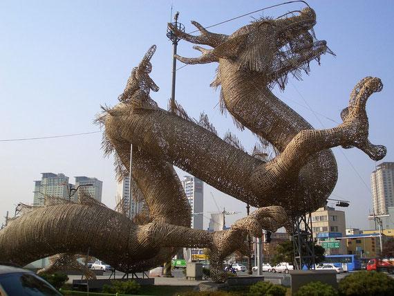 Dragón de Bambú localizado cerca de la Armada norteamericana en Yongsan, Seúl-Corea del Sur