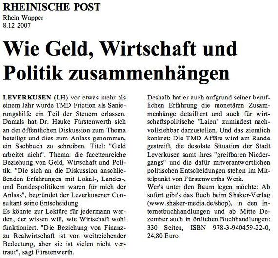 Bericht der RHEINISCHEN POST vom 08. 12. 2007
