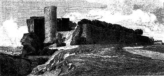 le Château de Falaise, ancien fief de Robert et ville natale de son fils, le célèbre Guillaume. Dans ce château, considérablement modifié au cours des siècles, Guillaume trouva maintes fois refuge dans ses jeunes années (gravure de John Sell Cotman).