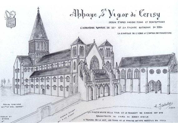 Dessin de Henri javalet reconstituant l'église et l'entrée de l'abbaye au XIIIè siècle