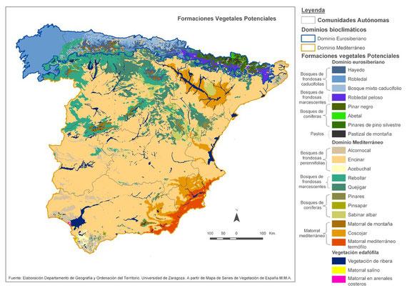 Vegetación Potencial en la Península Ibérica