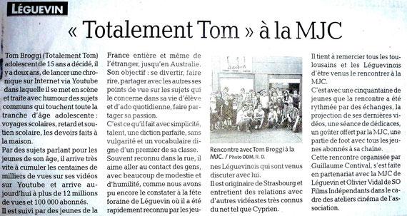 """Article paru dans """"La Dépêche du Midi"""" le jeudi 27 juin 2013"""