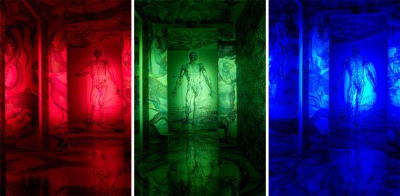 La même image sous 3 éclairages différents