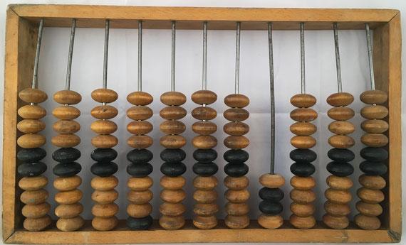 """Ábaco ruso """"schoty"""", 11 columnas, 46x27 cm, con columna para cuartos de rublo"""