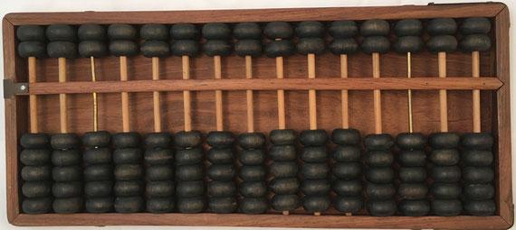 """Ábaco chino """"son pan"""", 15 columnas, 42x18 cm, panel trasero deslizable"""