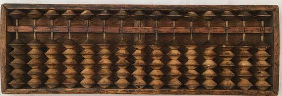 "Ábaco japonés ""soroban"" anterior a la II Guerra Mundial, 15 columnas, 33x11 cm"