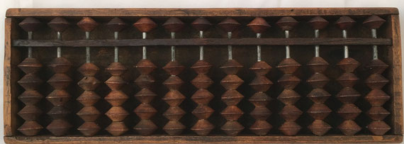 "Ábaco japonés ""soroban"" anterior a la II Guerra Mundial, 13 columnas, 29x10 cm"