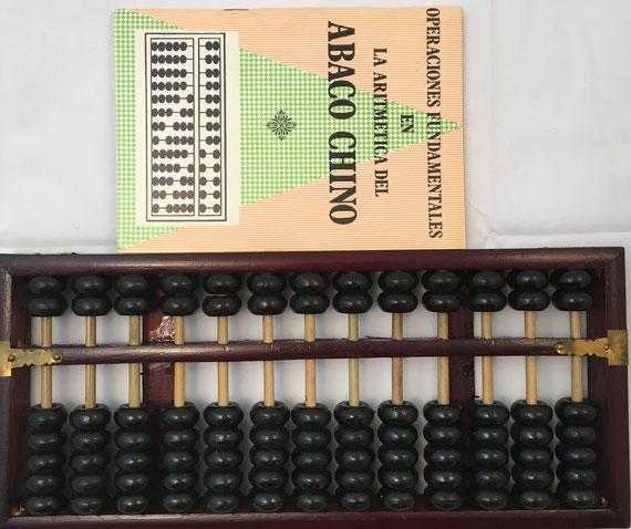 """Ábaco chino """"son pan"""", 13 columnas, 29x13 cm, con folleto de instrucciones"""