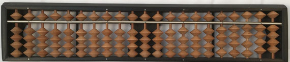 "Ábaco japonés ""soroban"" posterior a la II Guerra Mundial, 21 columnas, 30x6 cm"
