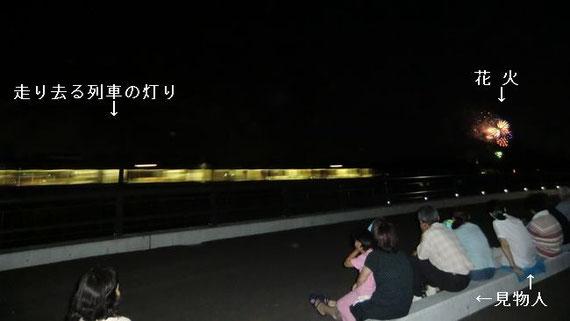 夜の列車と花火と見物人
