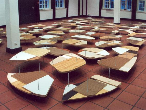 o.T. (Kunstverein Wunstorf),  2002, Holzplatten, Schrauben, 33x990x700 cm