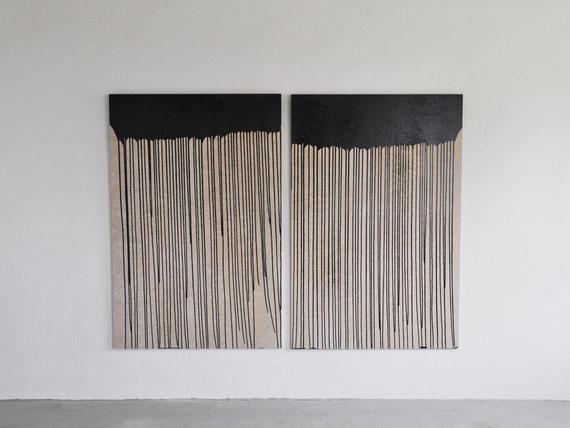 o.T., Eternitplatten, Bitumen, 150x210 cm