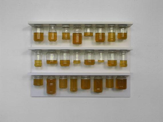 Heinz, Regal, Gläser, Öl, 66x90x22 cm