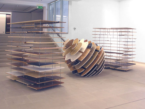 o.T., 2003, Holzplatten, Gewindestangen, 200x 520x245cm