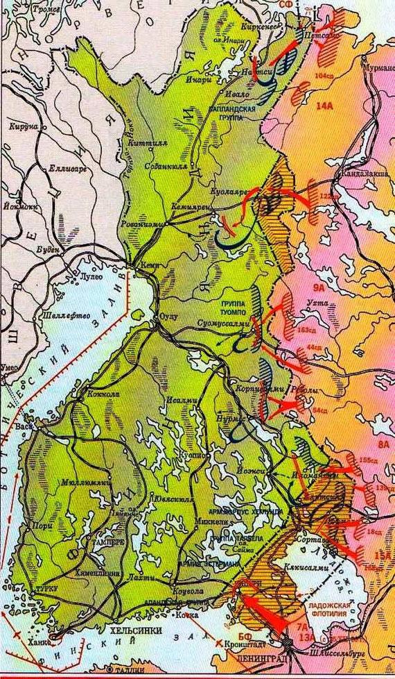 Схема развёртывания и действий советской группировки войск