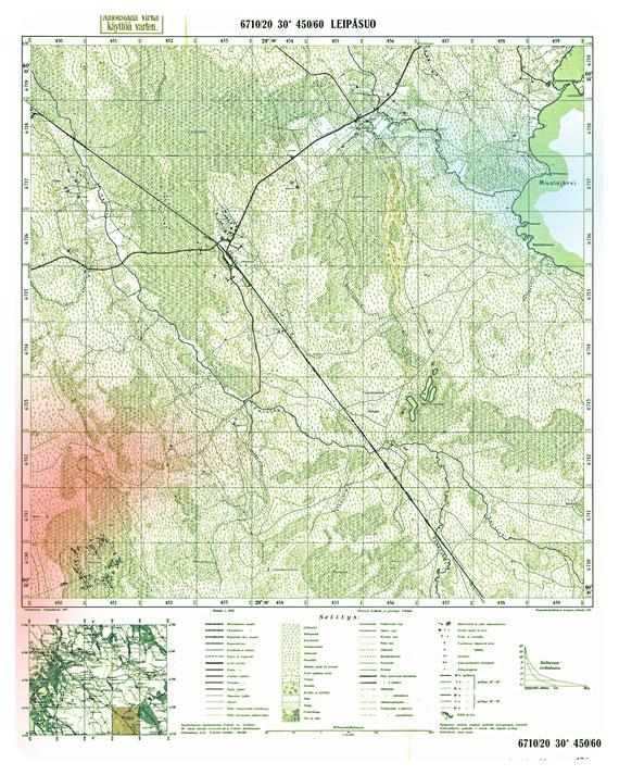 Район Лейпясуо /Leipäsuo/ на старой финской карте