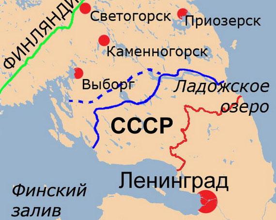 Линия Маннергейма на карте. Красная и зеленая линия - граница до и после Зимней войны. Синия линия - финские оборонительные заграждения.