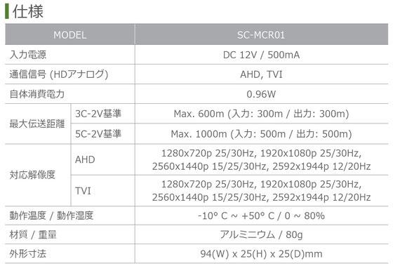 AHD HD-TVI HDアナログ用リピーター SC-MCR01 製品仕様01