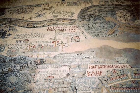 Mosaikböden in der Kirche St.Georg auf dem Berg Nebo.