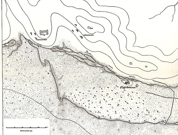 Karte des Gebietes.Rechts das Schloss, links oben Steinbrüche, aus denen das Material stammt.