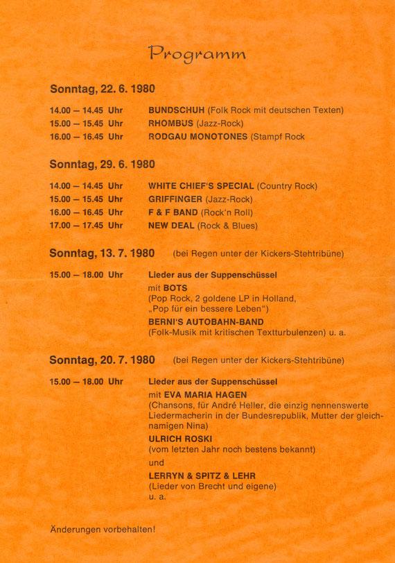 """Programm """"Rock aus der Suppenschüssel"""" 1980"""