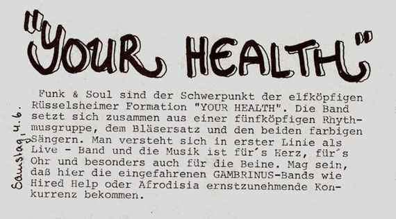 Aus dem Programmheft des Gambrinus/Bad Homburg vom Juni 1983