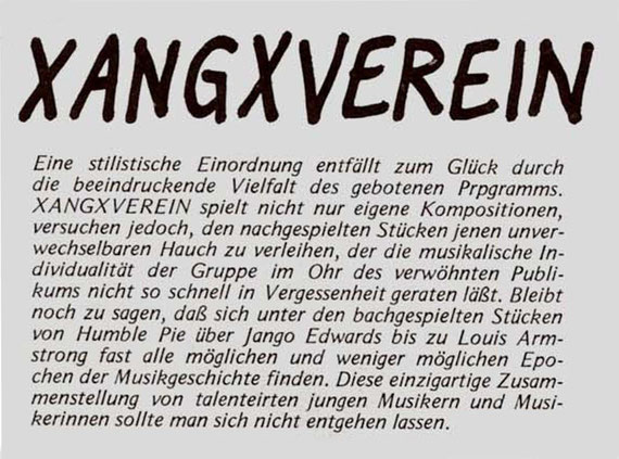 Aus dem Progarmmheft des Gambrinus/Bad Homburg vom Juni 1983