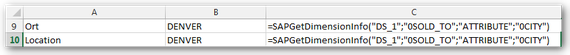 Analysis for Office SAPGetDimensionInfo