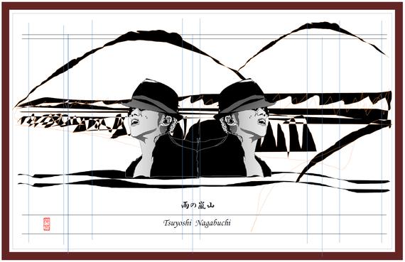 雨の嵐山 モノクロ 2021/07/08制作