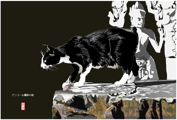 アンコール遺跡の猫 2020/05/11制作