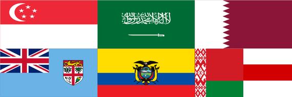 Flaggen mehrerer Staaten, u.a. Singapur, Saudi-Arabien, Katar, Ecuador
