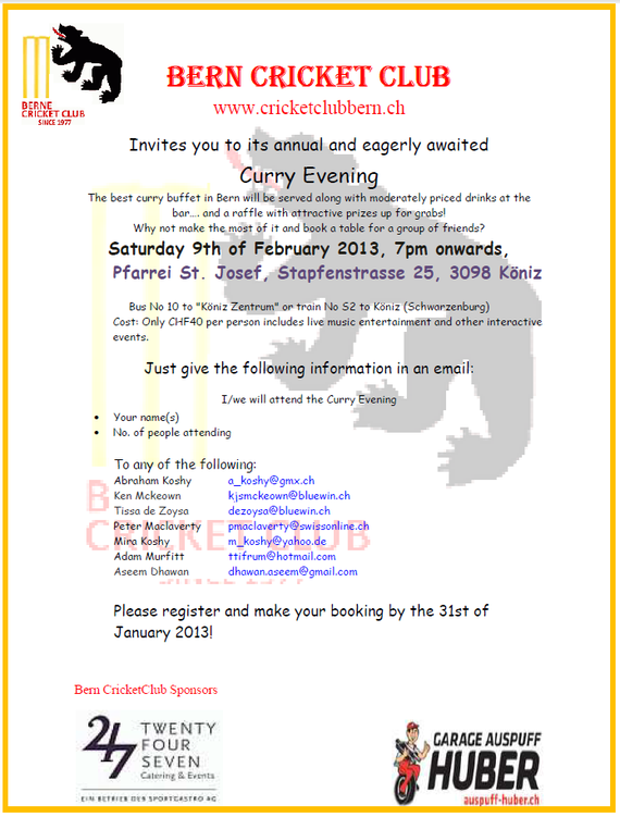 Berne CC curry evening invitation