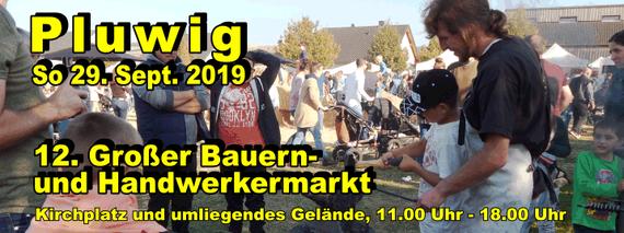 So. 29. Sept. 2019: Großer Bauern- und Handwerkermarkt in Pluwig; 29.09.2019