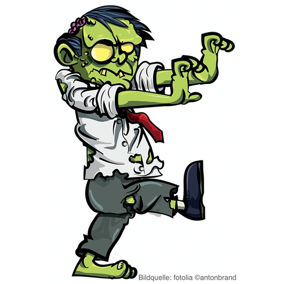 Cartoon zombie businessman stalking, © antonbrand, fotolia.com