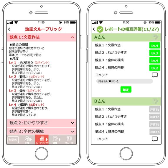 般の科研で開発した相互評価アプリのモック アップです。