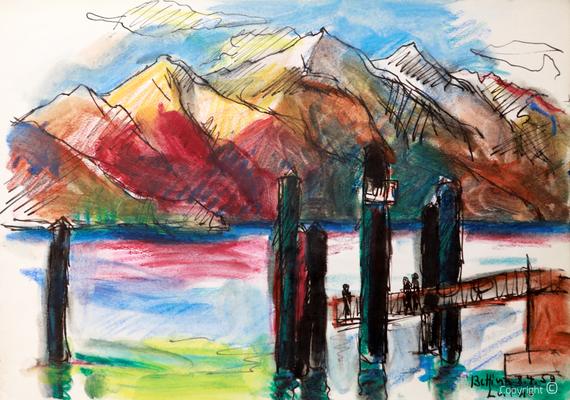Bettina Heinen-Ayech (1937-2020): Der Lago Maggiore bei Luino, 1959