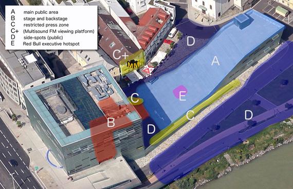 Karte: Linz, AEC mit Kennzeichnung der Konzert-Areale