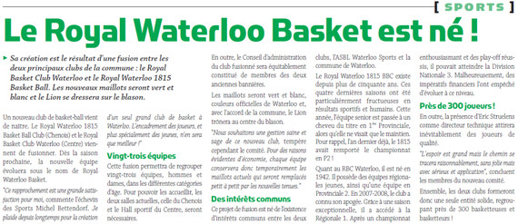 Le Royal Waterloo Basket est né !