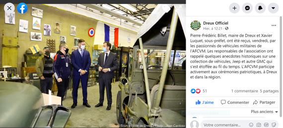 """23 octobre 2020, visite de M/ le Sous Préfet de DREUX et de M. le Maire de DREUX au Musée AFCVM """"le Prix de la Liberté"""""""