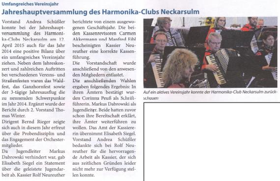 Neckarsulmer Woche, 23. April 2015